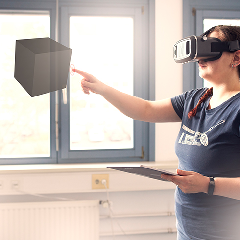 Woman with virtual reality